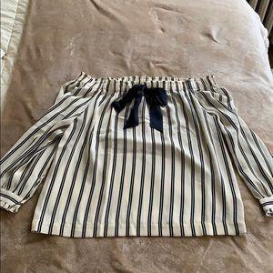 Sailor style Jcrew off shoulder blouse